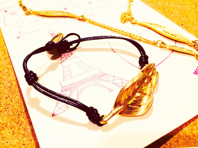 the Golden Feather leather bracelet